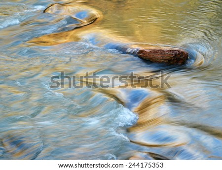 abstract background evening on the rapid river - stock photo