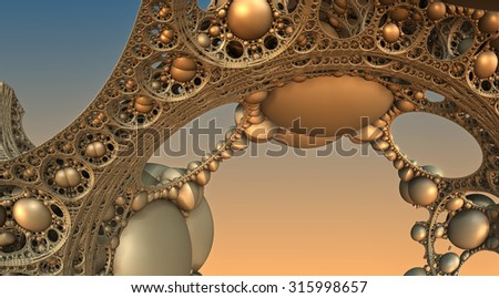 Abstract background, fantastic 3D gold structures, fractal design. - stock photo