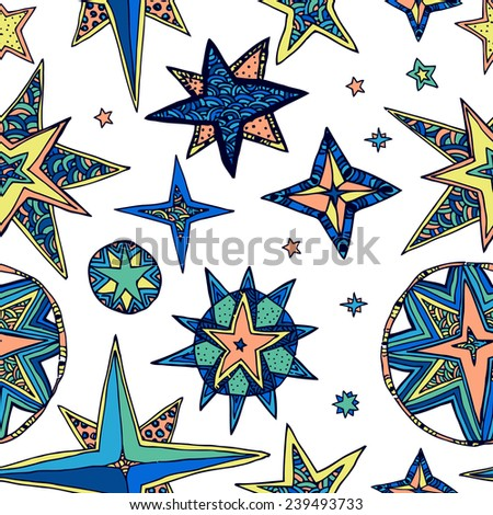Abstract background, fantasy starry sky. Seamless doodle square pattern. Ideal for wrapping paper. - stock photo