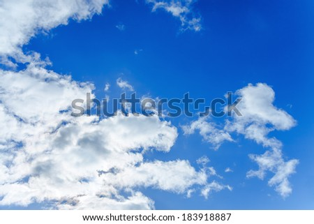 abstract  background from the blue sky with white clouds - stock photo