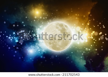Abstract background - full moon in night sky with bright lights, picture for full moon party.  Elements of this image furnished by NASA - stock photo