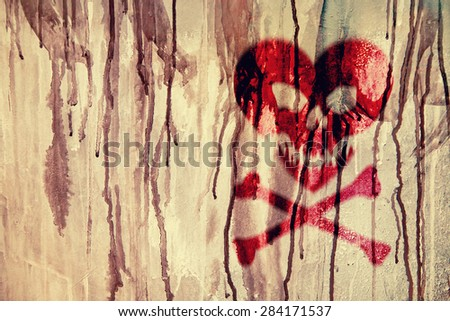 Abstract background, heart in the form of a skull and crossbones - stock photo