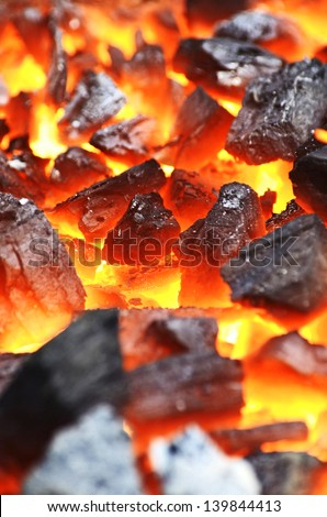Abstract background - hot coals close-up - stock photo