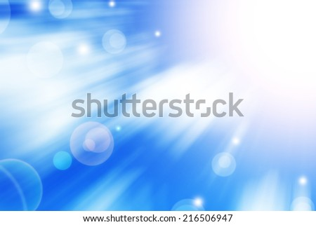 Abstract background in blue tones. Sun with lens flare. - stock photo