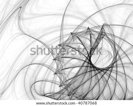 Abstract background made of curved lines blend of similar motifs rotated - stock photo