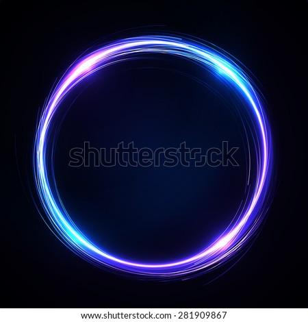 Abstract Background - neon Circle behind Dark Design - stock photo