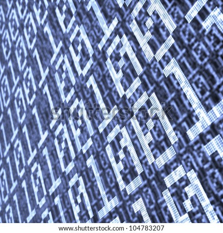 abstract background of binary code layers with depth of field effect - stock photo