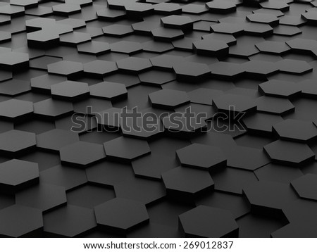 Abstract background of black 3d hexagon blocks - stock photo