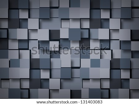 Abstract background of blue-gray cubes - stock photo