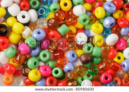 abstract background of close up multi colored beads - stock photo