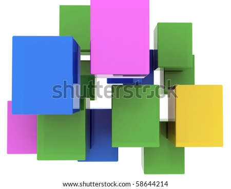 abstract background of colored 3d blocks - stock photo
