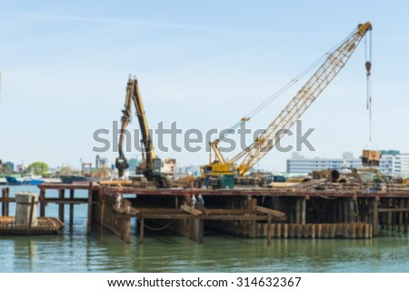 Abstract background of construction worker, shallow depth of focus. - stock photo