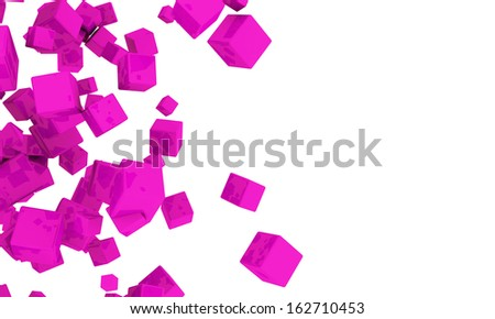 Abstract background of 3d magenta cubes in different sizes tumbling across a white background with copyspace - stock photo