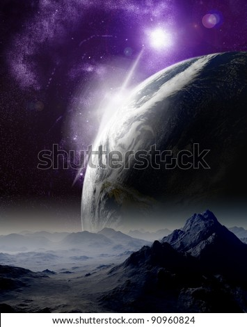 Abstract background of deep space. In the far future travel. New technologies and resources. - stock photo