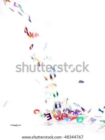 abstract background of falling letters on a white background. motion blur - stock photo