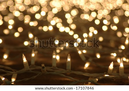 Abstract background of glowing christmas lights decoration - stock photo