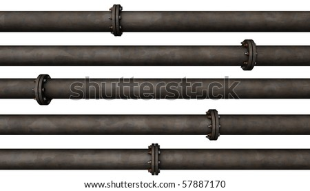 Abstract background of many rusted old pipes isolated on white - stock photo