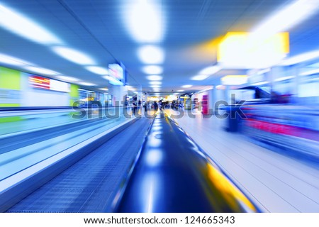 abstract background of moving escalator - stock photo