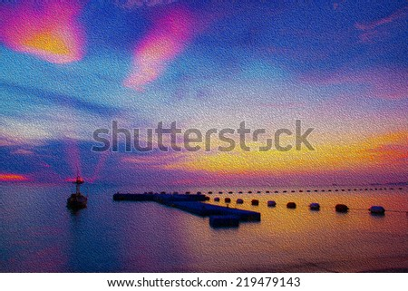 Abstract background of oil painting of the seascape with the boat and twilight when the sunset - stock photo