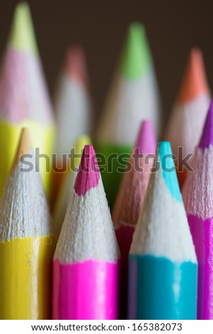 Abstract background of pencils with extremely shallow dof - stock photo