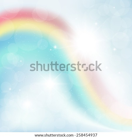 abstract background of rays on a blue sky with a rainbow - stock photo