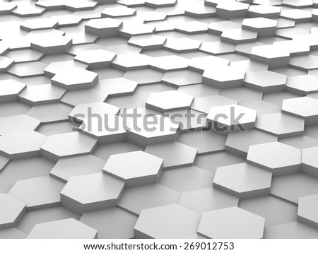 Abstract background of white 3d hexagon blocks - stock photo