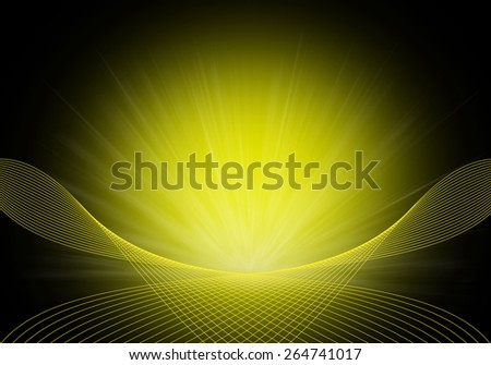 Abstract background of yellow curves lines and rays - stock photo