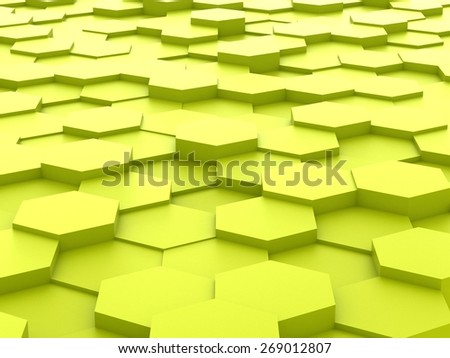 Abstract background of yellow 3d hexagon blocks - stock photo