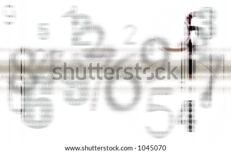 Abstract background pattern of gray superimposed numbers - stock photo