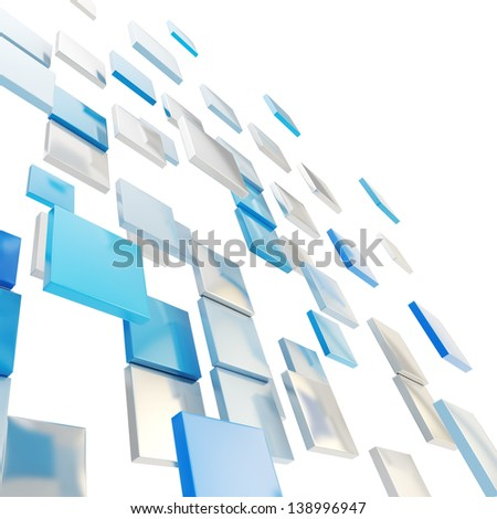 Abstract background perspective backdrop made of glossy blue and chrome metal square plates over white - stock photo