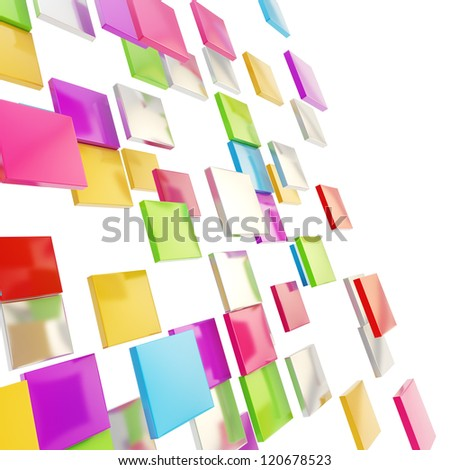 Abstract background perspective copyspace backdrop made of colorful glossy and metal square plates over white - stock photo