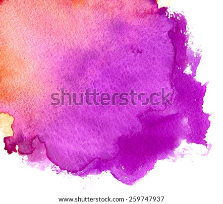 Abstract background, purple and coral watercolor stains on paper texture isolated - stock photo
