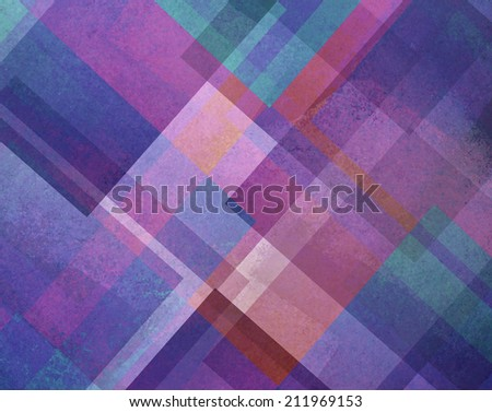abstract background purple blue and pink square and diamond shaped layers in diagonal angles pattern background - stock photo