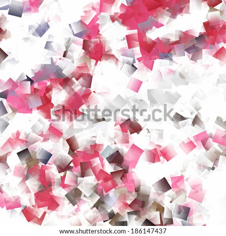 abstract background red and white cubes pattern texture - stock photo