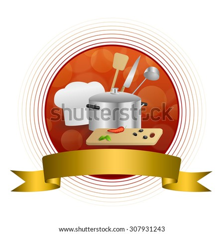 Abstract background red cooking white hat saucepan soup ladle knife paddle kitchen pepper olives gold circle frame ribbon illustration  - stock photo