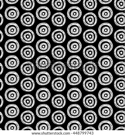 abstract background. Seamless black and white hand drawn circles pattern. Can be used for wallpaper, pattern fills, web page background, surface textures - stock photo