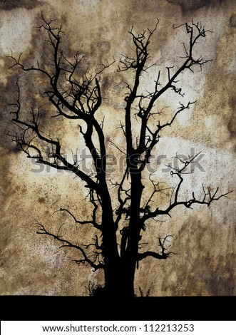 Abstract background silhouette of a dead tree in the drum head. - stock photo