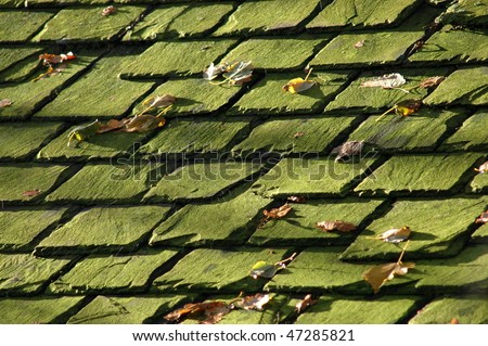 Abstract Background Texture of some old slate roof tiles - stock photo