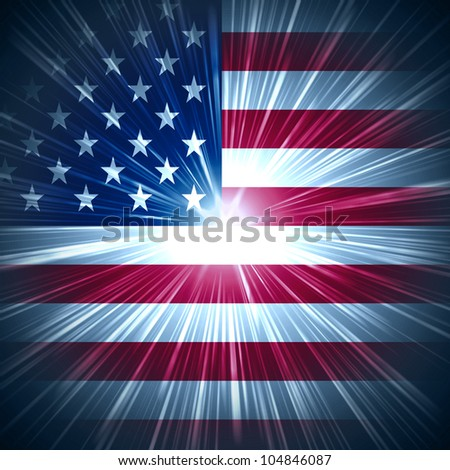 Abstract background USA flag with light rays - stock photo