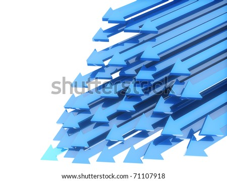 Abstract background with blue diagonal arrows in motion on white(leadership) - stock photo