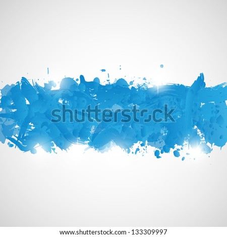 Abstract background with blue paint splashes. Illustration. - stock photo
