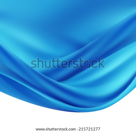 abstract background with blue silk waves - stock photo