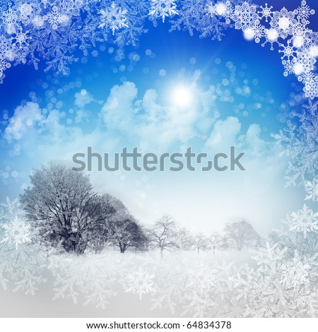Abstract background with blue skies and sunshine. Christmas in the winter landscape. Happy New Year and Merry Christmas! - stock photo