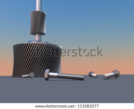 Abstract background with bolts and gears - stock photo