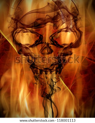 abstract background with burning flames and smoke skull - stock photo