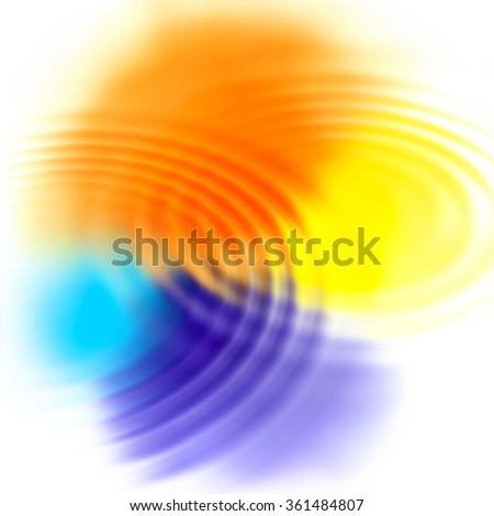 Abstract background with color spots and concentric ripples - stock photo