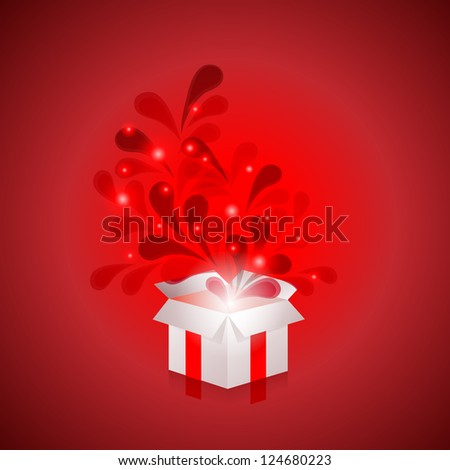 Abstract background with gift box - stock photo
