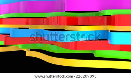abstract background with glossy plastic shapes in bright colors - stock photo