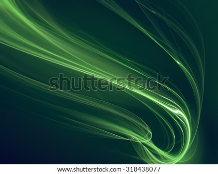 abstract background with glowing green lines - stock photo