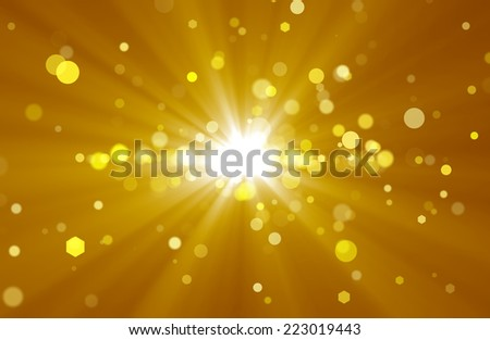 Abstract background with golden rays and spots - stock photo